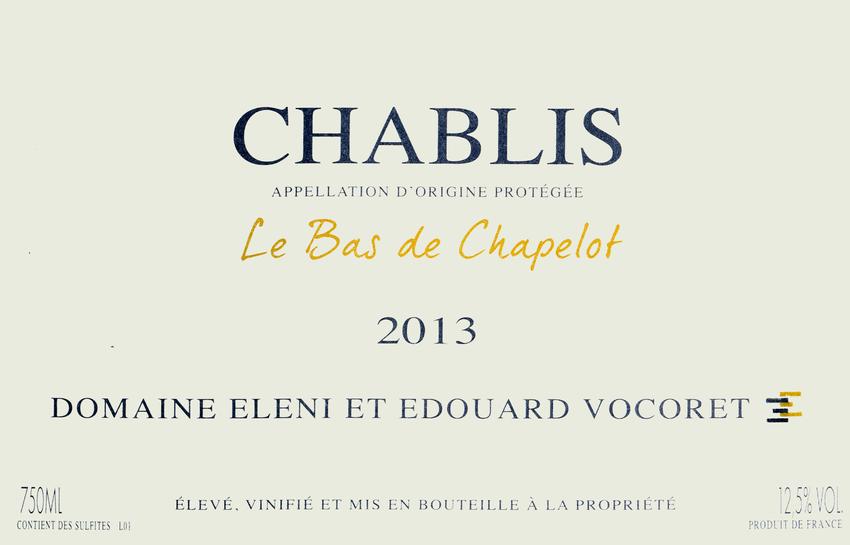 2013 Domaine Eleni & Edouard Vocoret Chablis Bas De Chapelot