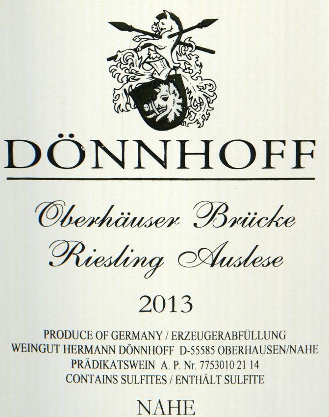 2013 Donnhoff Oberhauser Brucke Riesling Auslese Goldkapsel