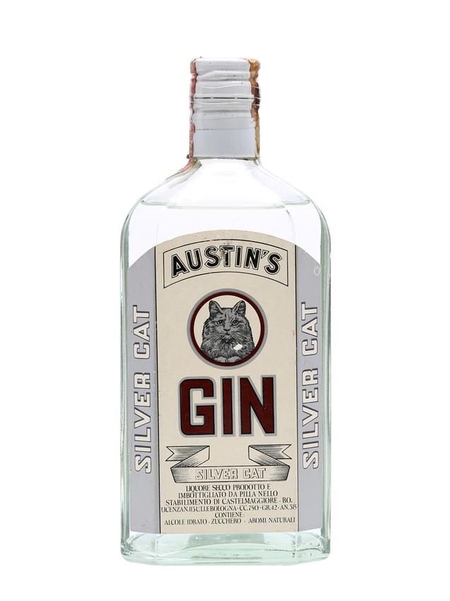 Austin's Silver Cat Gin Bot.1970s