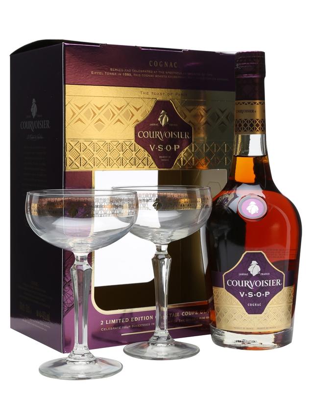 Courvoisier VSOP Cognac Gift Pack 2 Coupe Glasses