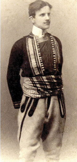 Tesla wearing a folk costume, c. 1880