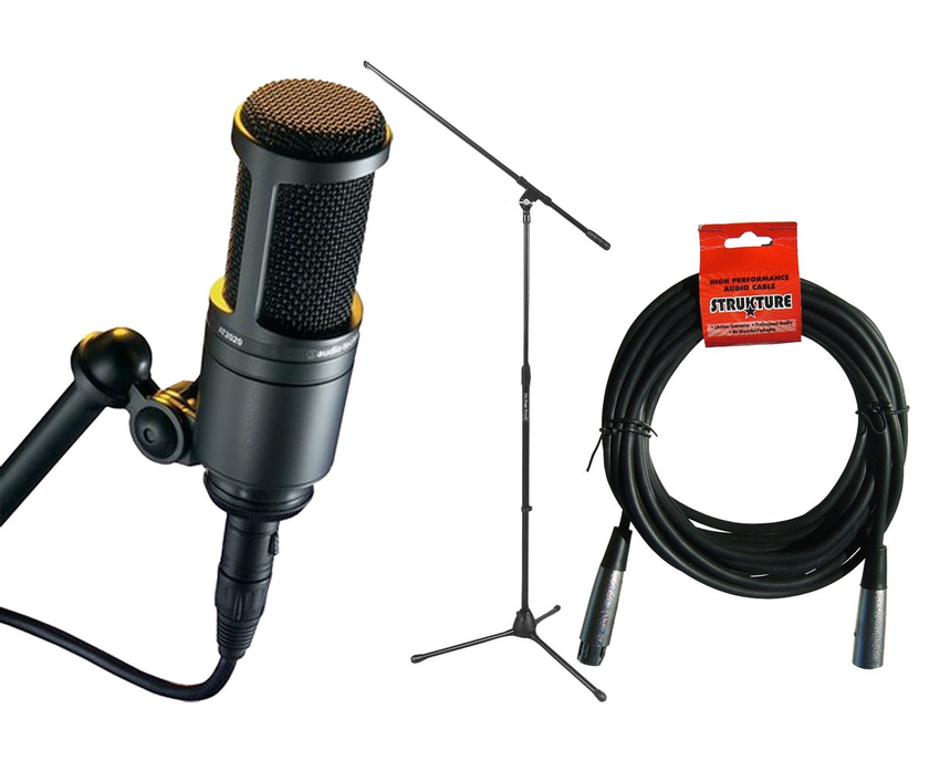 Audio Technica AT2020 +  Mic Stand + 20' XLR Mic Cable