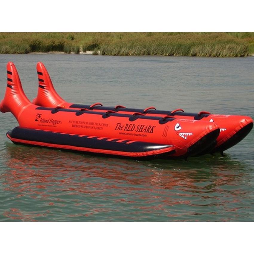 Island Hopper The Red Shark Banana Boat 10 Passenger Side-By-Side Towable Tube 2016