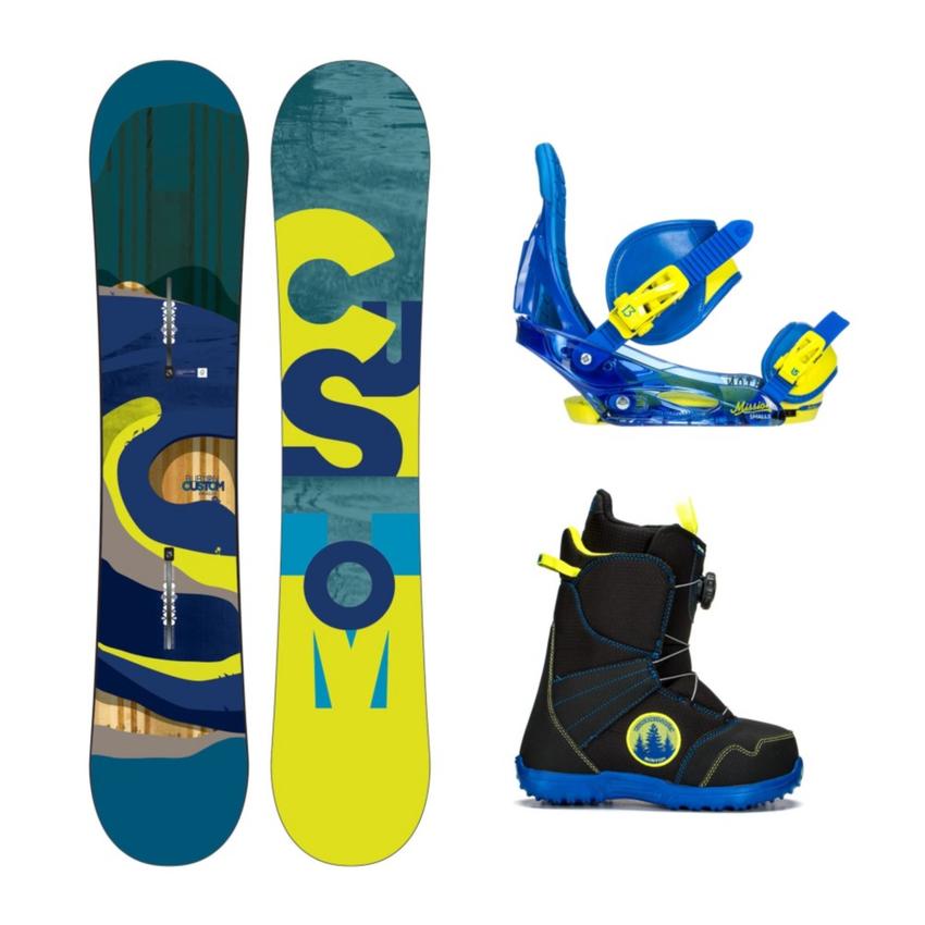 Burton Custom Smalls Wide Zipline Boa Kids Complete Snowboard Package 2016