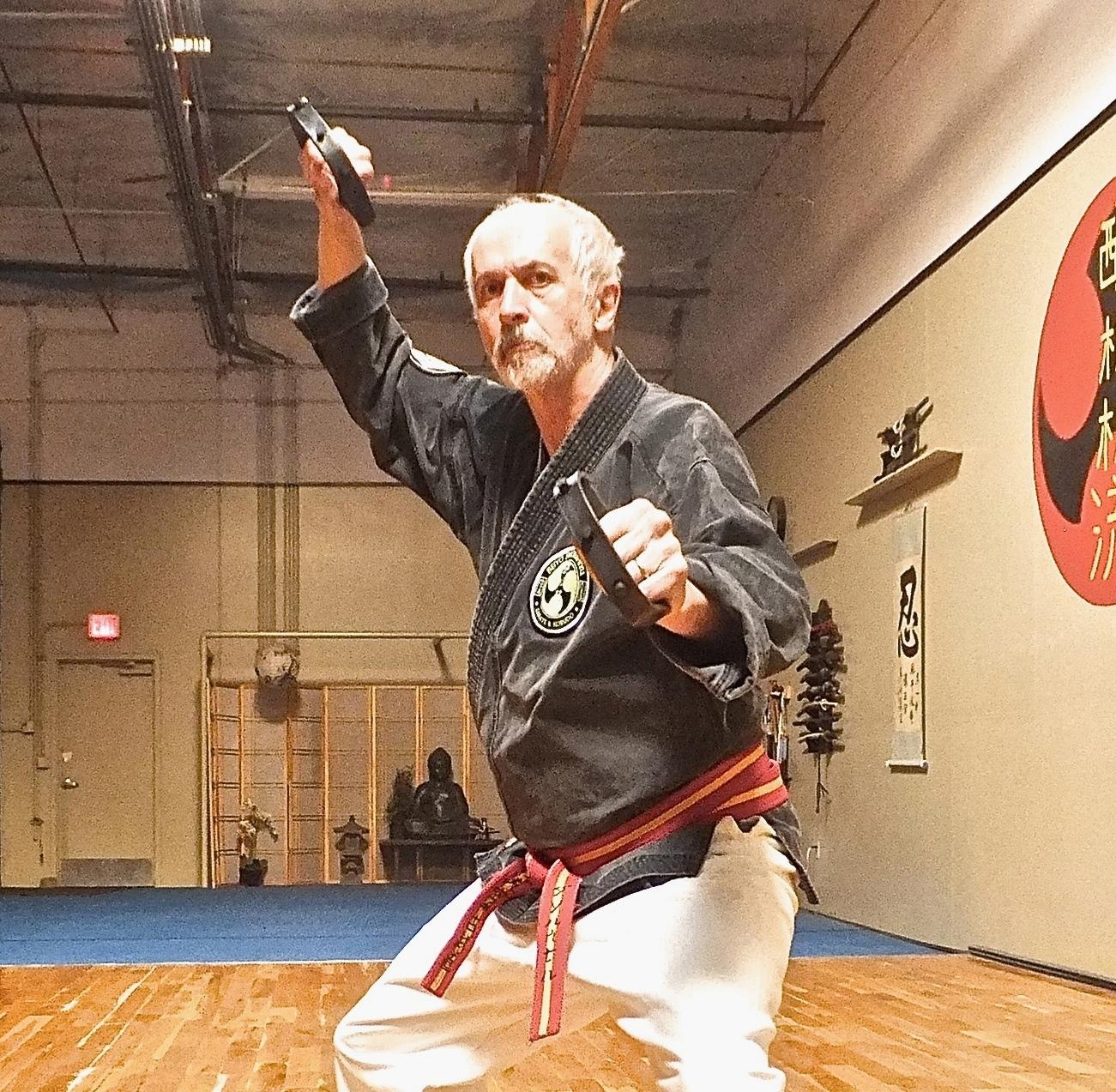 Grandmaster Hausel training in Kobudo at the Arizona Hombu Dojo, Mesa