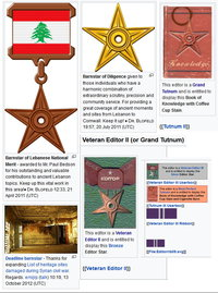 Various awards and recognitions for Paul Bedson's articles from Wikipedia