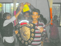 Pavan synergy runner up his team mates making fun of him in Don bosco pu college, Chitradurga 2015.