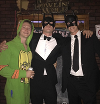 Photo of William Duple with his friends at a costume party.